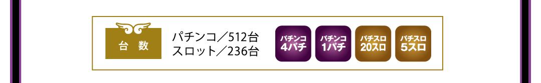 パチンコ/512台 スロット/236台